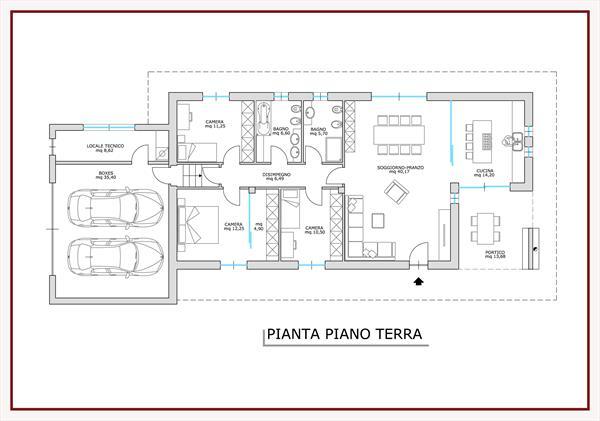 Progetto villa unifamiliare - Pianta casa bifamiliare ...